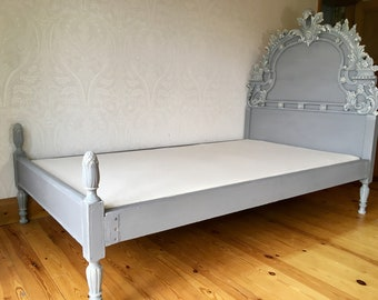 Vintage bed,French Style Bed,Ornate bed,Small double bed,Grey Bed,Headboard,Bed
