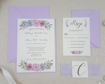 Watercolor Invites with Handmade Paper Belly Bands - lavender - Handmade- Calligraphic - Textured card stock - floral - spring wedding