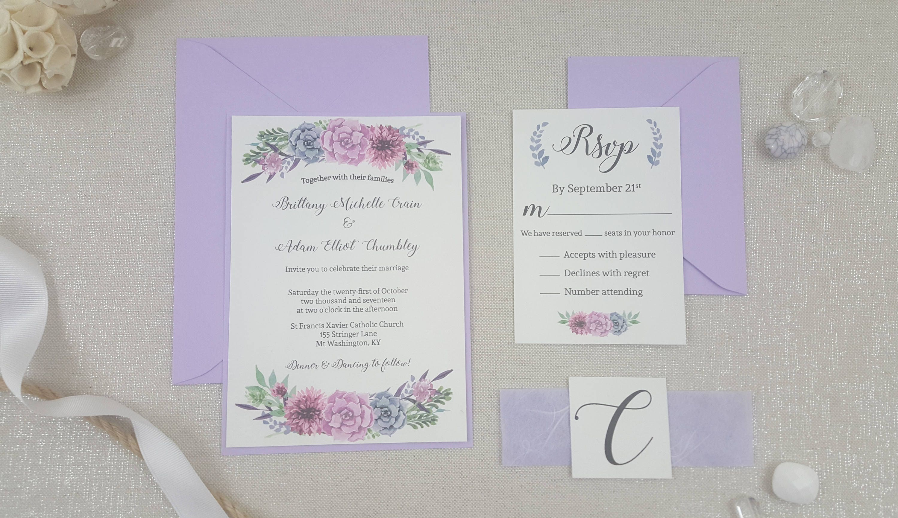 Watercolor Invites with Handmade Paper Belly Bands lavender
