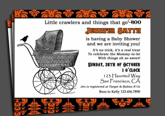 Halloween Baby Shower Invitation Printable Or Printed With - Halloween baby shower invitations