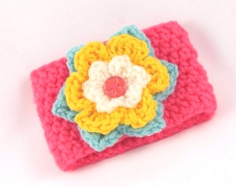 Crochet Coffee Cup Sleeve - Bright Coral with Aqua, Yellow and White Flower