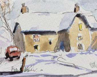 Landscape ORIGINAL Miniature Watercolour Cottage Snow ACEO Farmhouse Watercolor Winter, For him, For her, Home decor, Wall art, Gift Idea