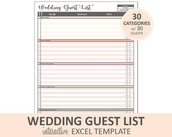 Wedding Guest List Etsy
