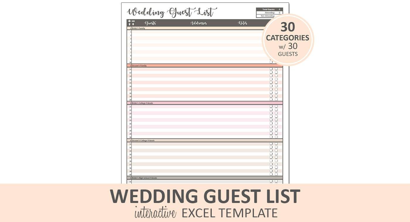 Pfirsich Hochzeit Gästeliste Gästeliste druckbare Excel
