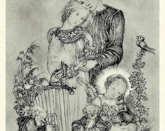 Sulamith Wulfing 1936 Angel & Couple in Love w- Dwarves Mice Frog and Bird MATTED Print Child Gnomes Frog Mouse Make Music For Young Lovers