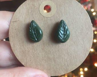 Dark Forest Green Ceramic Leaf Stud Earrings