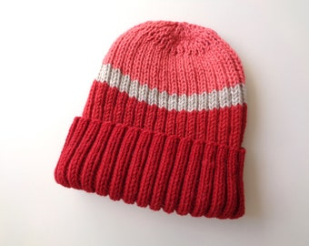 Warm Wool Hat, Hand Knit Watch Cap, Bright Red & Tan, Toque Beanie, Men Teen Boys, Color Block Stripes