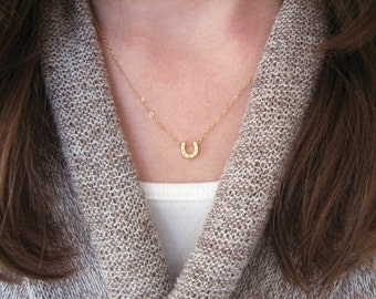 Horseshoe Necklace Gold, Lucky Necklace, Horseshoe Pendant, Lucky Horseshoe Necklace, Simple, Dainty Necklace - 14K Gold-Filled Chain