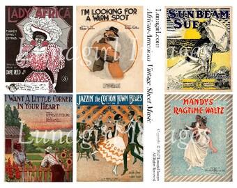AFRICAN AMERICAN Sheet Music, digital collage, Vintage Images, Victorian ladies, couples dancing romantic, altered art, ephemera DOWNLOAD