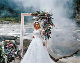Long train,Custom wedding dress,Boho wedding dress,Vintage Inspired,Princess Ball Gown,Divine wedding dress,Fashionable wedding dress,