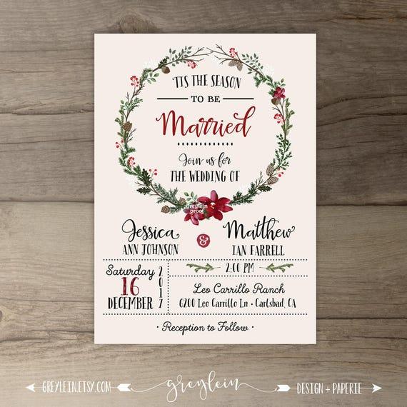 Winter wedding invitations wreath tis the season to junglespirit Images