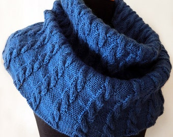 Knitted blue snood, cowl with arans, blue cowl, knitted hooded cowl, tall cowl, wool cowl, cable cowl, tall snood, womens snood, womens cowl