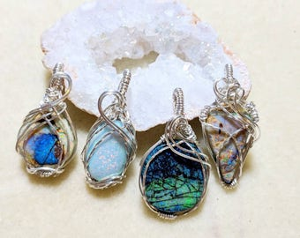 """Opal Sterling Wire Wrapped Pendants/Monarch Opal Jewelry/unique bohemian accessories/16"""" sterling silver box chain"""