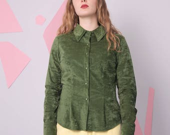 velvet velour shirt size L, 70s women's top, green oxford minimal shirt, button up vintage blouse