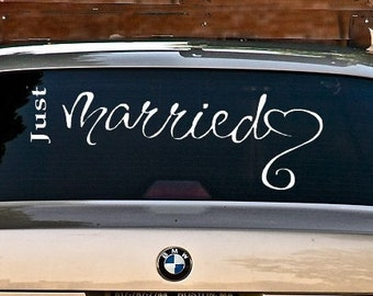 Wedding decal Just Married with free shipping