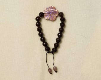 Garnet Beaded Bracelet with Fower