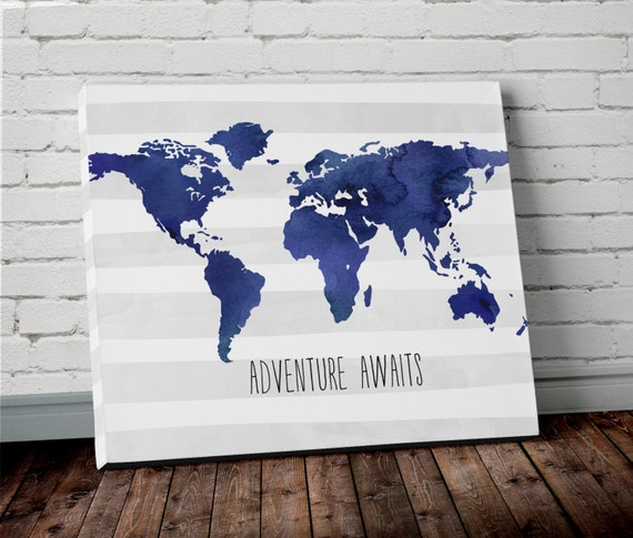 Watercolor navy blue world map canvas wall art adventure like this item gumiabroncs Image collections