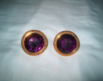 Vintage Costume Jewelry Napier Clipback Earrings, Purple