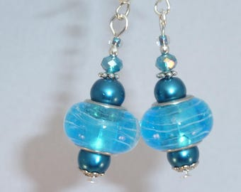 "Jewelry Silver earrings ""turquoise strand"""