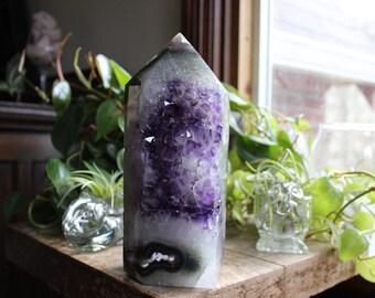 Amethyst tower, geode tower, geode point, geode generator, crystal generator, polished crystals, crystal specimen, rock stone, minerals