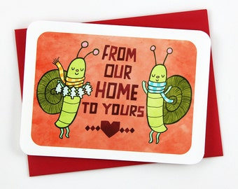 Snail Mail Christmas Card - Holiday Card, Christmas Card, Holiday greetings, season's greetings, Snail Mail card, From our Home card