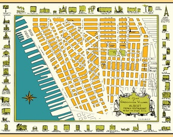 Greenwich Village New York 1950s Map Poster Vintage Washington Square West 4th Bleecker Street Broadway Houston Prince Christopher Bedford