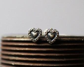 Silver Heart Earrings - stud earrings - gift for her - dainty heart earrings - boho gift for mom - mother's day gift - dainty stud earrings