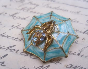 An Unusual Vintage French Spider Brooch,Arachnid,1980's,Turquoise.