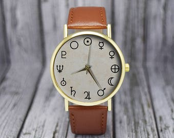 Planet Signs | Symbols | Solar System | Minimalist | Ladies Watch | Men's Watch | Gift Ideas | Birthday | Wedding | Fashion Accessories