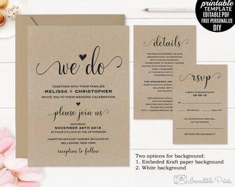 Kraft Paper Wedding Invitation Template. Wedding Invitation Set. Printable Rustic Invitation. Modern Classic Elegant PDF Digital Download