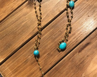 Turquoise and Gold Lariat Necklace