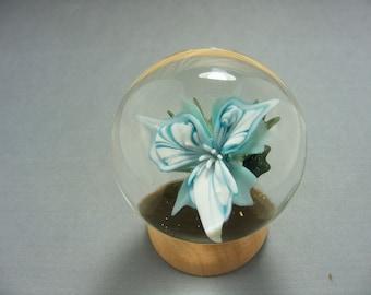 Handmade Borosilicate Aqua Floral Marble