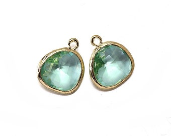 Erinite Glass Pendant . Jewelry Craft Supplies . 16K Polished Gold Plated over Brass  / 2 Pcs - AG001-PG-EN
