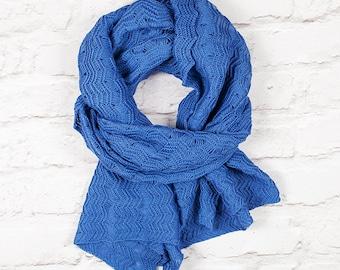 Blue Scarf, Blue Oversized Scarf, Blue Lace Scarf, Blue Wrap, Cotton Scarf, Blue Wide Scarf, Blue Shawl, Shawl, Oversized Scarf