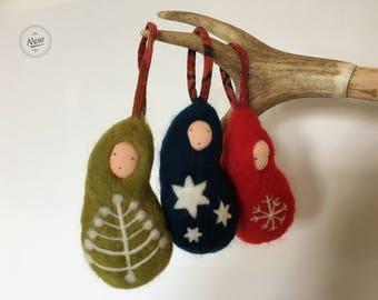 Handmade Needle Felted Christmas Droplets