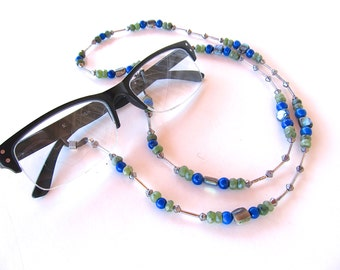 Upscale Eyeglasses Chain w Necklace Converter in Sterling, Lapis, and Jade