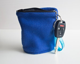 Blue Fleece Adult Wrist Wallet, Runners Cuff Pack, Hiking Carrying Case, Card Carrier, Running Sleeve, Gift Idea, Dog Walking Key Card Case