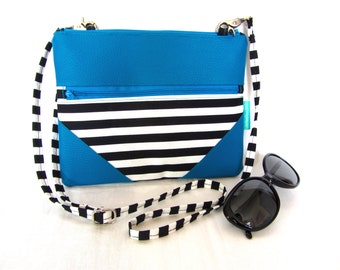 "Black and white fabric crossbody bag woman, blue faux leather zipped small bag, blue zipped purse, 24x19cm (9,5""x7,5"")"