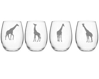 Set of 2 or 4 Giraffe Wine Glasses,Etched Giraffe Wine Glass, Giraffe Wine Glass, Giraffe Wine Glasses,Giraffe Etched Stemless Wine Glasses