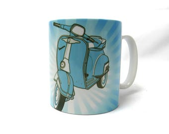 Scooter Mug, Blue Scooter, Vespa Scooter Gift Ideas.