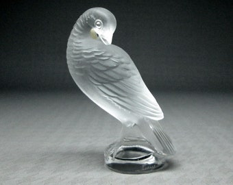 Lalique dove France , etched mark , frosted and clear