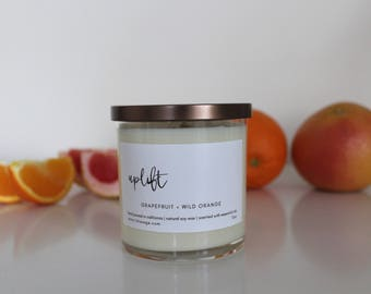 Natural Soy Wax Candle Scented with Essential Oils | Grapefruit and Wild Orange - Uplift | Glass Jar | Grapefruit and Wild Orange Scented