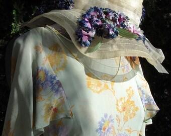 Original 1930's Dress/ Hat  Cornflower Floral Print Chiffon/ Matching Hat  Size 4/6  Item #311 Dresses/ Gowns
