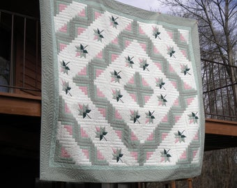Log Cabin  Hand quilted