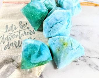 Mini Blue Crystal Soaps, 6 Piece Gemstone Soap Set, Geode Soaps, Novelty Gemstone Soaps, Glycerin Soap, Melt and Pour Soup, Glitter Soap