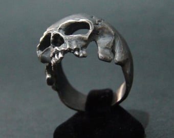 Amazing Sterling Silver SKULL Ring HANDMADE Masonic Biker Harley All Sz US:8-14