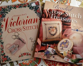 Lot of 2 Cross stitch books Vanessa Ann's Victorian Cross Stitch and Beaded Cross Stitch Treasures by Gay Bowles