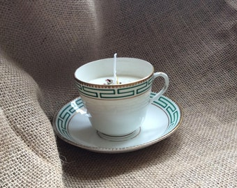 Soy wax candle in a vintage china tea cup