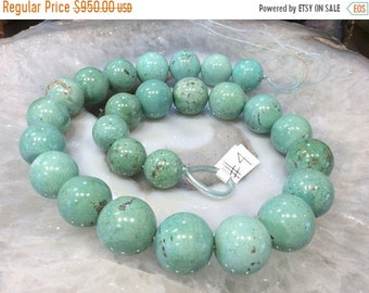 50% Mega Sale 14-18mm Mongolian Round Natural Turquoise Beads #4