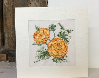 Begonia Embroidered Greeting Card